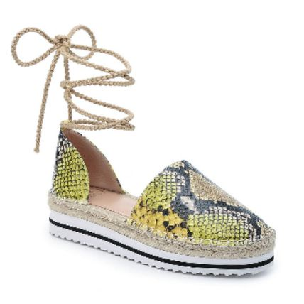 Platform Round Toe Casual Style Plain Party Style Python