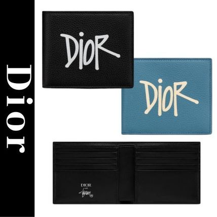 Christian Dior Unisex Calfskin Folding Wallet Logo Folding Wallets