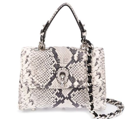 2WAY Leather Python Shoulder Bags