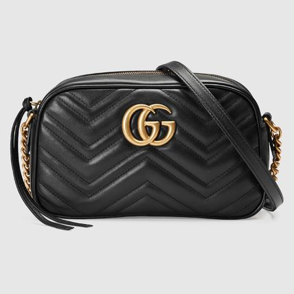 GUCCI GG Marmont Chain Plain Leather Crossbody Logo Shoulder Bags