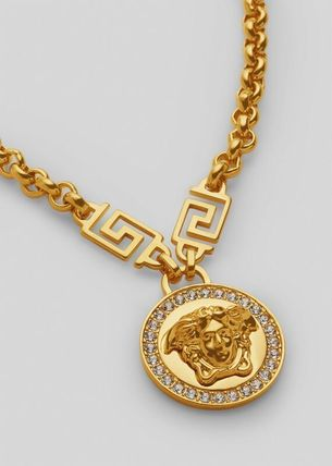 VERSACE Unisex Street Style Chain Metal With Jewels Logo