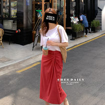 Pencil Skirts Casual Style Plain Cotton Skirts