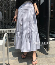 Flared Skirts Stripes Casual Style Cotton Long Maxi Skirts
