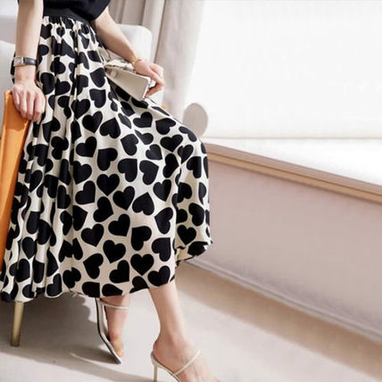 Flared Skirts Heart Casual Style Long Elegant Style