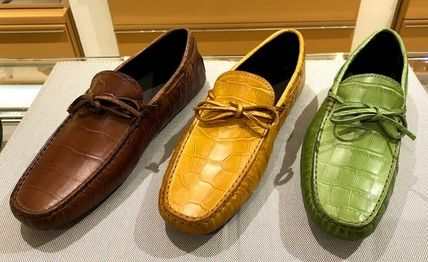 Driving Shoes Suede Plain Leather U Tips Loafers & Slip-ons