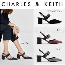 Charles&Keith Casual Style Suede Faux Fur Plain Block Heels Office Style
