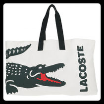 LACOSTE Casual Style Canvas A4 Other Animal Patterns Logo Totes