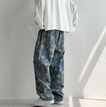 Flower Patterns Denim Street Style Cotton Oversized Jeans