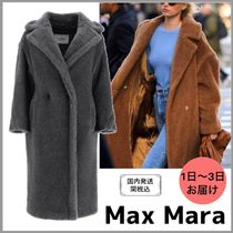 MaxMara TEDDY BEAR Blended Fabrics Plain Long Oversized Eco Fur Shearling Logo