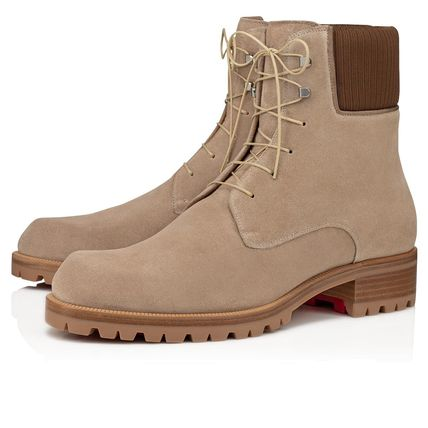 Christian Louboutin Mountain Boots Suede Plain Leather Outdoor Boots
