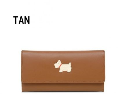 Plain Other Animal Patterns Leather Logo Long Wallets
