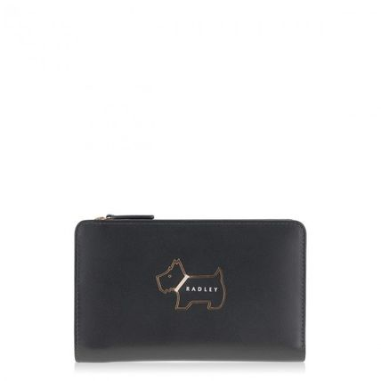 Plain Other Animal Patterns Leather Folding Wallet Logo