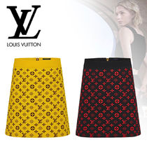 Louis Vuitton MONOGRAM Pencil Skirts Short Monogram Wool Silk Cotton Logo