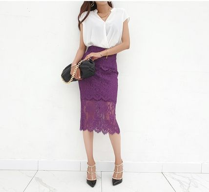 Pencil Skirts Casual Style Plain Medium Party Style Lace