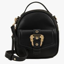 VERSACE Casual Style Faux Fur Plain Office Style Logo Backpacks