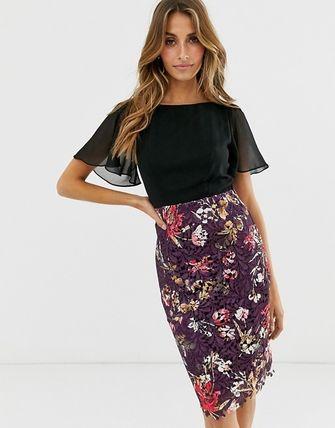 Flower Patterns Tight Medium Short Sleeves Lace Office Style