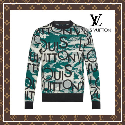 Louis Vuitton Sweaters Crew Neck Long Sleeves Cotton Logo Luxury Sweaters