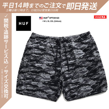 HUF Printed Pants Camouflage Monogram Unisex Street Style Cotton