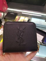 Saint Laurent Calfskin Plain Leather Folding Wallet Small Wallet