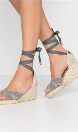 Open Toe Platform Lace-up Casual Style Blended Fabrics Plain