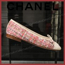 CHANEL Plain Toe Casual Style Tweed Formal Style  Flats
