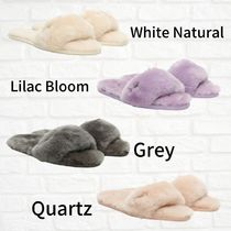 UGG Australia Open Toe Casual Style Sheepskin Plain Office Style Slippers