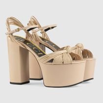 GUCCI Open Toe Platform Casual Style Plain Leather Party Style