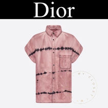 Christian Dior Casual Style Denim Tie-dye Cotton Short Sleeves