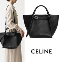 CELINE Big Bag Casual Style Calfskin Plain Leather Shoulder Bags
