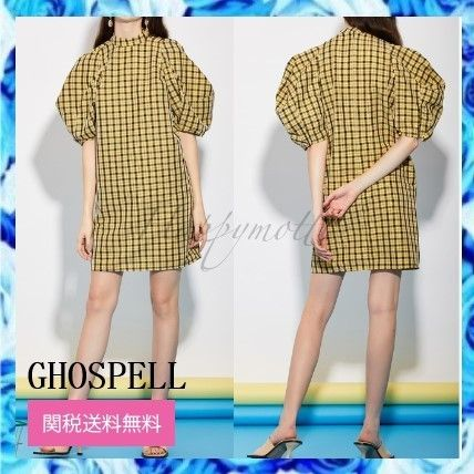 Other Plaid Patterns Casual Style Cotton Puff Sleeves