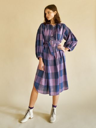 Heinui Other Plaid Patterns Casual Style Cotton Medium Dresses