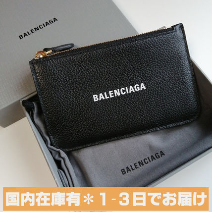 BALENCIAGA Unisex Leather Logo Coin Cases