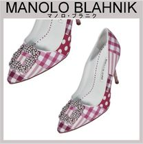 Manolo Blahnik Gingham Stripes Dots Casual Style Leather With Jewels