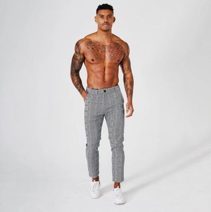 BEAUXNARROW Other Plaid Patterns Street Style Cropped Pants