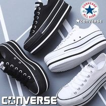 CONVERSE ALL STAR Stripes Platform Rubber Sole Lace-up Casual Style Plain Logo