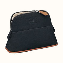 HERMES Bolide Blended Fabrics Plain Leather Logo Pouches & Cosmetic Bags