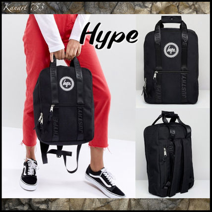 Casual Style Street Style A4 Plain Logo Backpacks