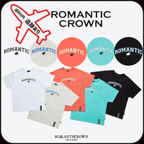 ROMANTIC CROWN Stripes Unisex Street Style U-Neck Cotton Short Sleeves Logo