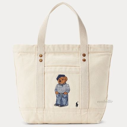 Casual Style Unisex Canvas A4 Logo Totes