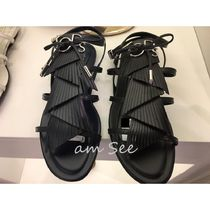 TOD'S Open Toe Casual Style Plain Leather Fringes Logo Sandals