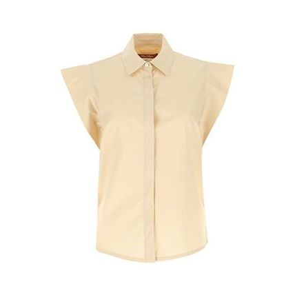 Casual Style Plain Cotton Short Sleeves Office Style