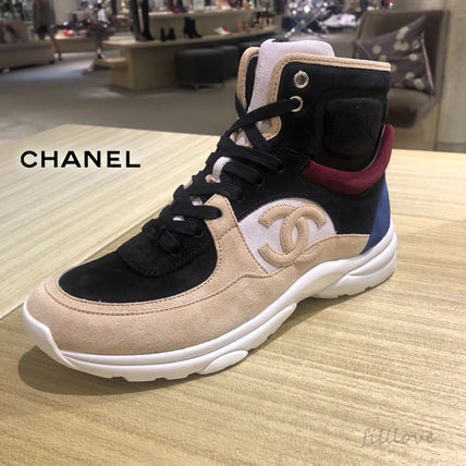 CHANEL Low-Top Lace-up Casual Style Unisex Blended Fabrics Street Style