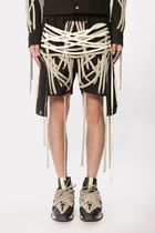 RICK OWENS Street Style Plain Cotton Fringes Sarouel Shorts