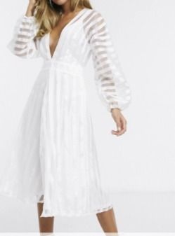 Stripes V-Neck Long Sleeves Long Elegant Style Dresses
