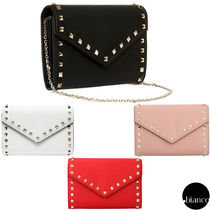 VALENTINO Studded 2WAY Chain Leather Elegant Style Crossbody Logo