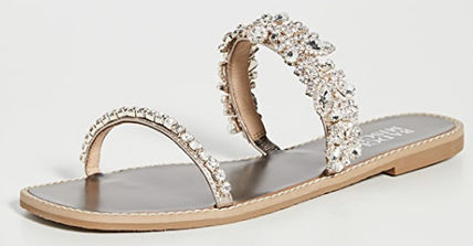 Open Toe Rubber Sole Leather With Jewels Sandals Sandal