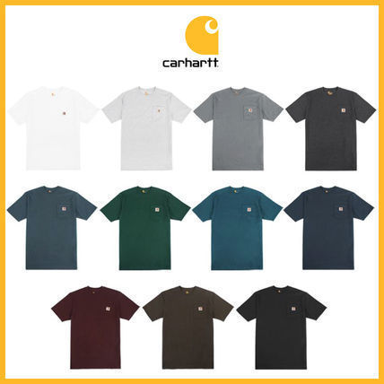 Carhartt Crew Neck Crew Neck Unisex Street Style Plain Cotton Short Sleeves