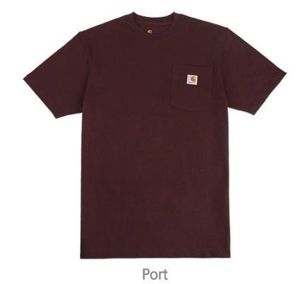 Carhartt Crew Neck Crew Neck Unisex Street Style Plain Cotton Short Sleeves 6