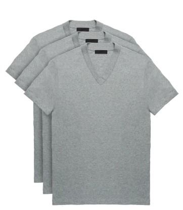 PRADA Logo Luxury V-Neck Plain Cotton Short Sleeves
