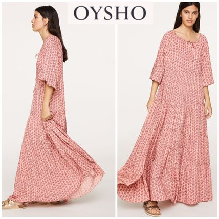 Flower Patterns Casual Style Maxi Flared Loungewear Dresses